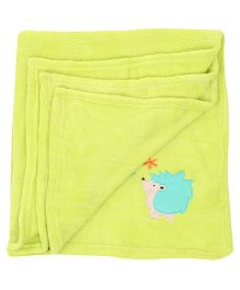 Honey Bunny Coral Baby Blanket Porcupine Embroidery - Lemon Green