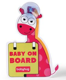 Babyhug Baby On Board Sign Giraffe - Red