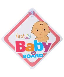 Firstcry Baby On Board Sign With Suction Cup - Pink