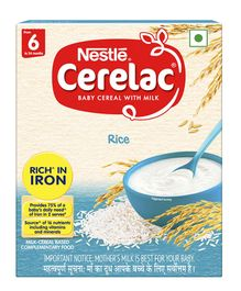 Nestle Cerelac Fortified Baby Cereal With Milk Rice From 6 Months 300gm Bib Pack
