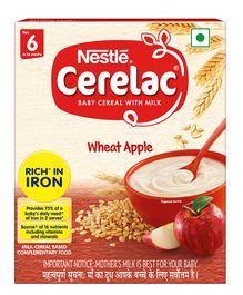 Nestle Cerelac Fortified Baby Cereal With Milk Wheat Apple - From 6 Months 300 gm Bib Pack