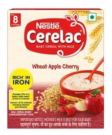 Nestle Cerelac Fortified Baby Cereal With Milk Wheat Apple Cherry -  From 8 Months 300gm Bib Pack