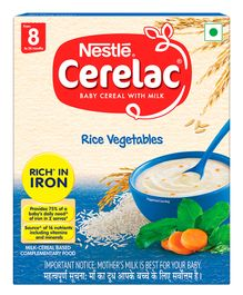 Nestle Cerelac Fortified Baby Cereal With Milk Rice Vegetables - From 8 Months 300gm Bib Pack