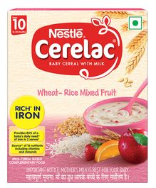 Nestle Cerelac Fortified Baby Cereal with Milk Wheat-Rice Mixed Fruit From 10 Months 300g Bib Pack