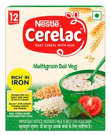 Nestle Cerelac Fortified Baby Cereal With Milk Multi Grain Dal Veg From 12 Months 300gm Bib Pack