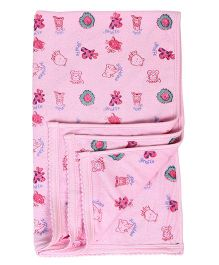 Tinycare Baby Towel Animal Face Print - Pink