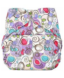Bumberry Pocket Cloth Diaper Cover With Insert - Violet Print