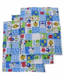 Babyhug Multi Purpose Baby Mat Apple Rabbit Print Set Of 4 - Blue