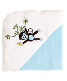 My Milestones Premium Hooded Towel Monkey Embroidery Solid Pattern - Blue