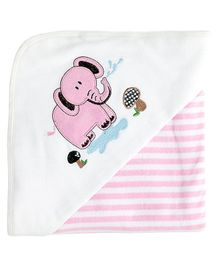 My Milestones Premium Hooded Towel Stripe Pattern - Pink