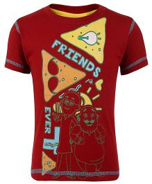 Motu Patlu Half Sleeves T-Shirt Friends Print - Dark Red