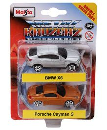 Maisto Die Cast BMW X6 And Porsche Cayman Cars Pack of 2 - Silver And Yellow
