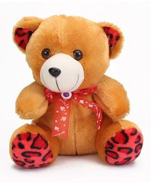 Liviya Button Teddy With Lace Bow Brown - 26 cm