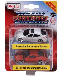 Maisto Die Cast Porsche Panamera Turbo And Ford Mustang Boss 302 - Red White