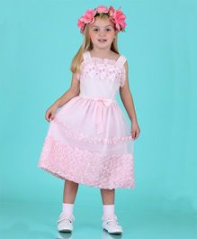 Dolce Liya Sleeveless Party Dress Bow Applique - Pink