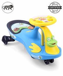 Babyhug Froggy Gyro Swing Car With Easy Steering Wheel - Blue