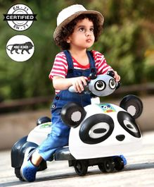 Babyhug Panda Gyro-Swing Car With Steering Wheel - Black & White
