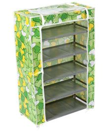 Storage Rack Five Shelves With Clear Front Cover Hearts - Green
