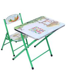 Study Table With Chair Alphabet And Fruit Print - Green