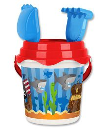 Stephen Joseph Beach Bucket Set Pirate And Shark - Blue And Red