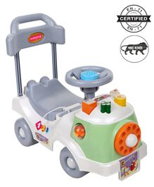 Babyhug Fun N Learn Ride-On With Storage Space & High Backrest - White Green