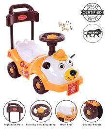 Babyhug Teddy Foot To Floor Ride-On With Steering Wheel & High Backrest - White