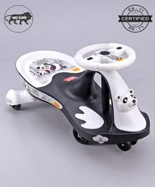 Babyhug Baby Panda Gyro Swing Car With Steering Wheel - Grey White