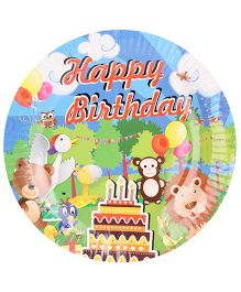 B Vishal Paper Plate Jungle Birthday Theme Multi Color - Diameter 8.6 Inches