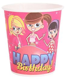 B Vishal Happy Birthday Theme Paper Cups Pack Of 10 - Pink