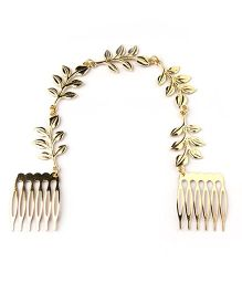 Double Combs Olive Leaf Hair Accessory - Golden