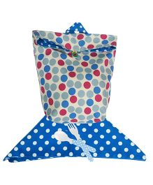 Blue Multi Polka Washable Lunch Bag And Napkin Set By Kadambaby