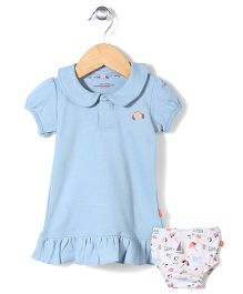 Magnificent Baby Dress With Bloomer - Light Blue