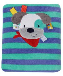 Taggies Dog Printed Blanket - Blue & Green