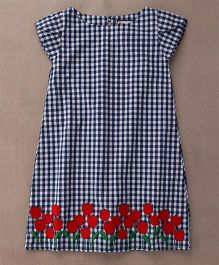The Dragon & the Rabbit Tulip Dress - Navy With Red Flower