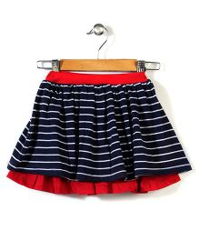 The Dragon & the Rabbit Double Layered Skirt - Navy & Red