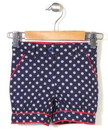 the DRAGON and the RABBIT Polka Dot Print Shorts - Navy Blue