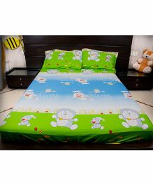 Doraemon Double Bedsheets And 2 Pillow Covers - Blue Green
