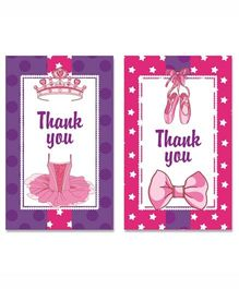 Prettyurparty Ballerina Thankyou Cards- Pink and Purple