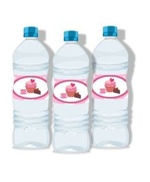 Prettyurparty Cupcake Water Bottle Labels Pack Of 10 - Pink