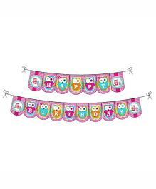Prettyurparty Girly Owl Birthday Bunting- Pink
