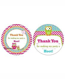 Prettyurparty Girly Owl Thank You Cards- Pink