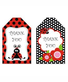 Prettyurparty Lady Bug Thankyou Cards- Black and Red