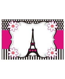 Prettyurparty Paris Table Mats- Pink and Black