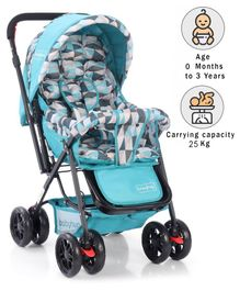 Babyhug Cocoon Stroller With Mosquito Net & Reversible Handle - Sea Green