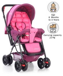 Babyhug Cocoon Stroller With Mosquito Net & Reversible Handle - Fuchsia