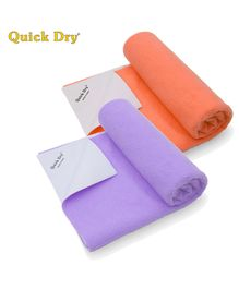 Quick Dry Bed Protector Mat Pack Of 2 Peach & Lilac - Small