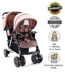 Babyhug Easy Foldable Twin Stroller With Adjustable Leg Rest  - Coffee Brown