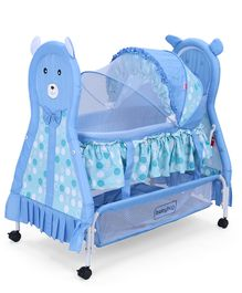 Babyhug Love Teddy Print Bassinet With Swing Lock Function And Detachable Inner Storage Basket - Blue