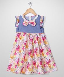Fairy Floral Printed Frock - Pink And Blue