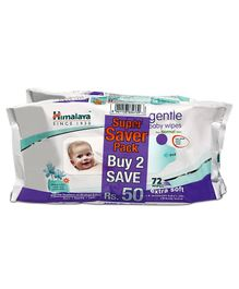 Himalaya Herbal Gentle Baby Wipes 72 Pieces - Pack of 2
